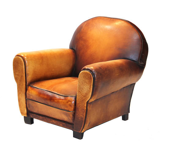 A French Art Deco leather upholstered club chair second quarter 20th century