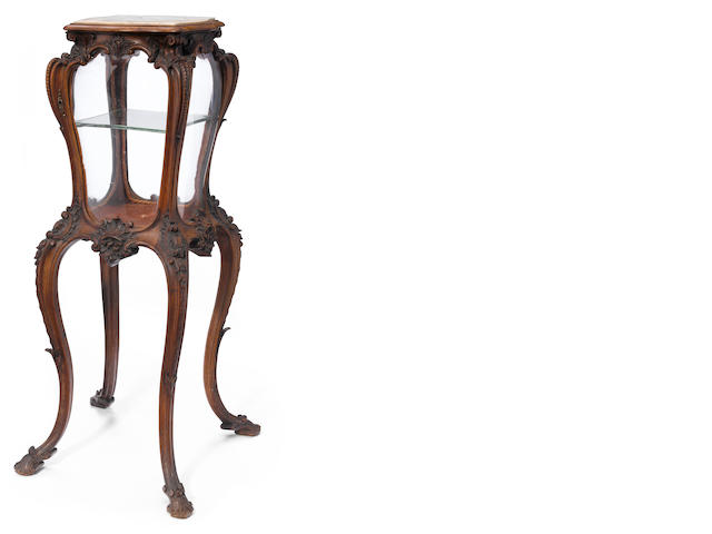 An Italian Rococo style carved walnut display cabinet  <BR />late 19th century