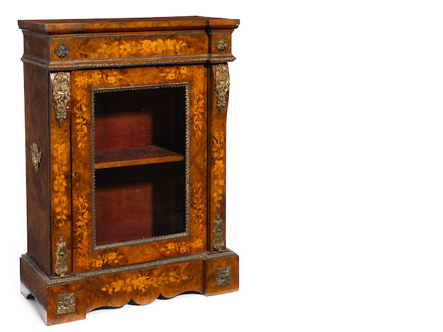 A French gilt bronze mounted marquetry display cabinet <BR />late 19th century