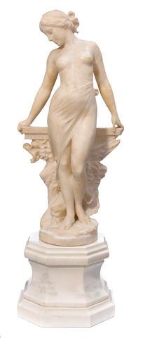 An Italian carved alabaster figure of a maiden <BR />Emilio Fiaschi (Italian, 1858-1941) <BR />circa 1900