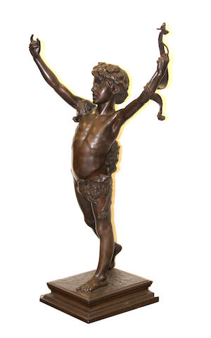 An Italian patinated bronze figure of a youth