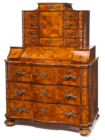 A South German Baroque inlaid walnut secretary