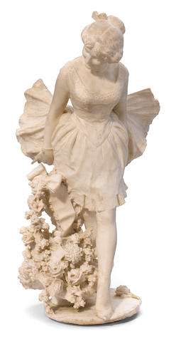 An Italian carved alabaster figure of a young girl <BR />late 19th century