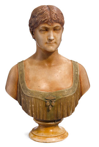 An Italian carved marble bust of a young lady <BR />early 20th century