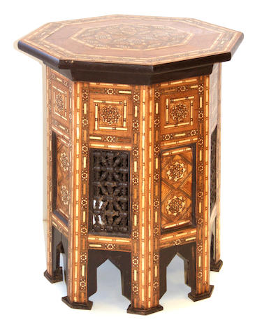 A pair of Moorish style shell and bone inlaid side tables