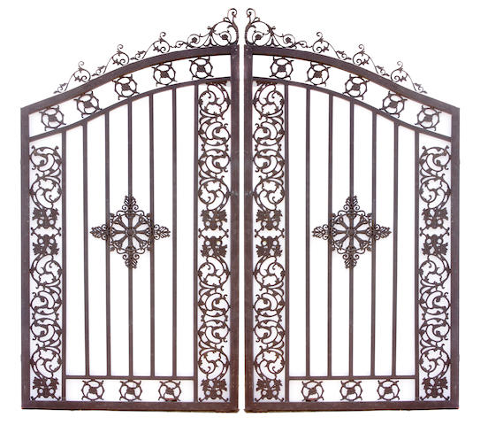 An imposing pair of wrought iron gates