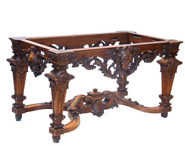 A Renaissance style walnut library table late 19th century