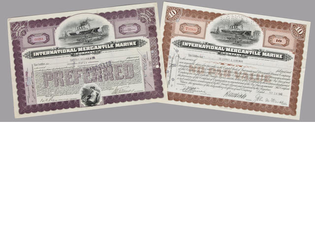 A pair of stock certificates for the International Mercantile Marine Co.<BR /> circa 1940 7-3/4 x 12 in. (19.6 x 30 .4 cm.) each.