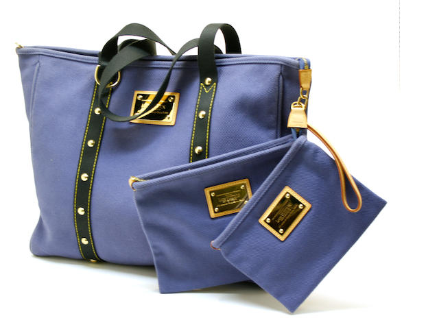 A Louis Vuitton Antiqua blue Cabas canvas tote and two pochettes
