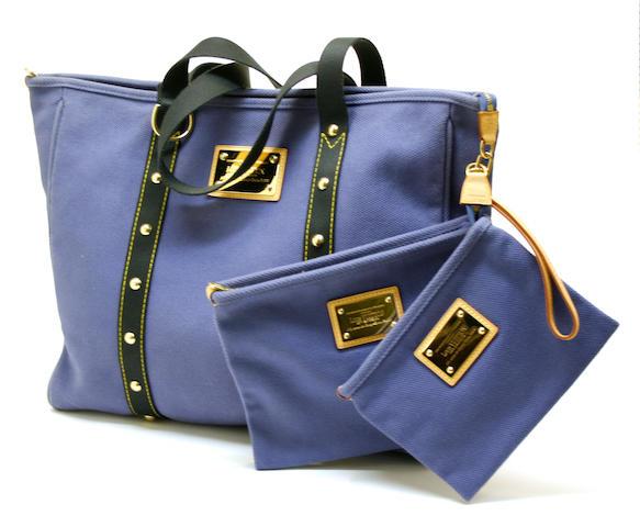 A Louis Vuitton Antiqua blue Cabas canvas tote and two pochettes