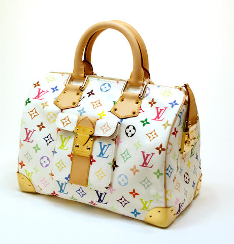A Louis Vuitton Monogram Multicolore white canvas Speedy 30 handbag  model M29643