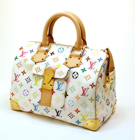A Louis Vuitton Monogram Multicolore white canvas Speedy 30 handbag  model M29643