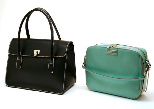A Lambertson Truex black leather handbag and Lambertson Truex turquoise leather cosmetic bag