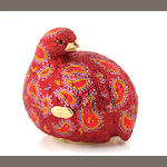 A red and multi-colored crystal grouse minadiere,