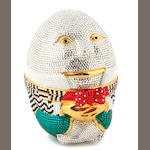 A multi-colored crystal humpty dumpty minaudiere,