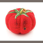 A red and green crystal tomato minaudiere,