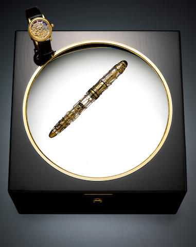 MONTBLANC: Meisterstück 149 75th Anniversary Solid Gold Skeleton Fountain Pen & Automatic Watch, Limited Edition 75