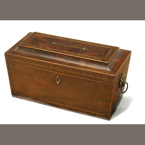 A George III inlaid mahogany tea caddy . fourth quarter 18th century