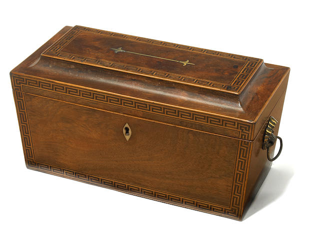 A George III inlaid mahogany tea caddy <BR />fourth quarter 18th century
