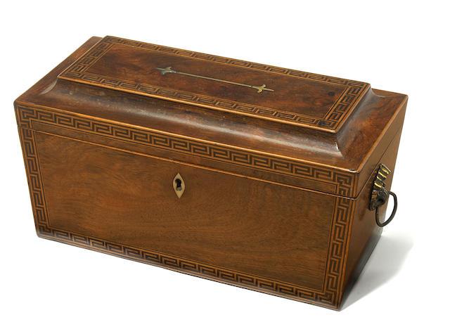A George III inlaid mahogany tea caddy  fourth quarter 18th century