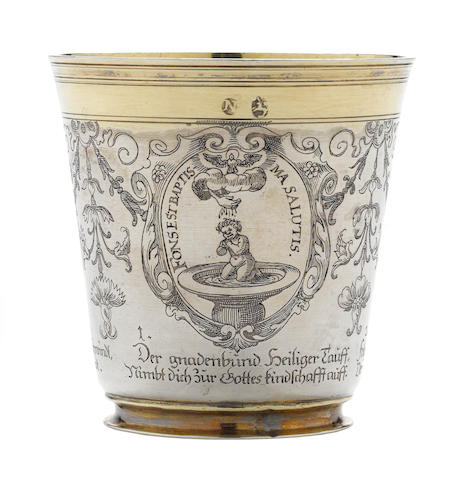 A German parcel-gilt and acid-etched silver beaker by Marx Burmeister, Nuremburg, 1631-1657