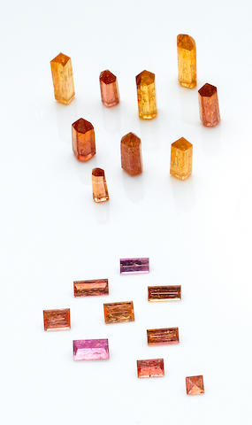 Group of Polished Topaz Crystals and Faceted Topazes
