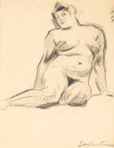 Achille Emile Othon Friesz (French, 1879-1949) Female nude 12 5/8 x 10 1/8in