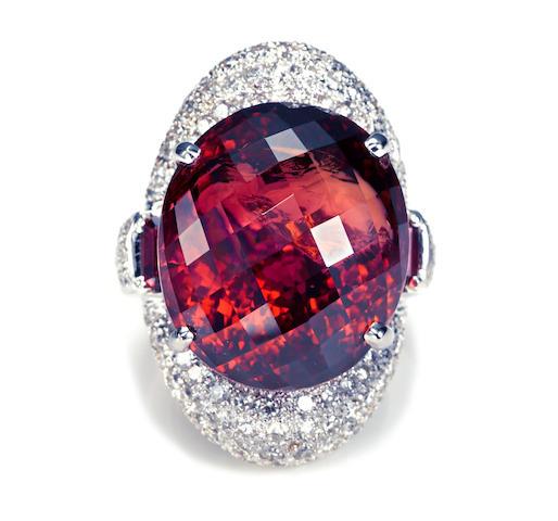A pink tourmaline and diamond ring
