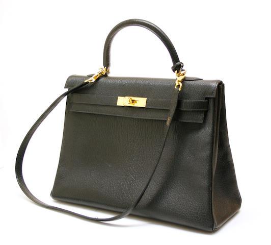 A Hermès black leather 35cm Kelly bag H date code for 2008