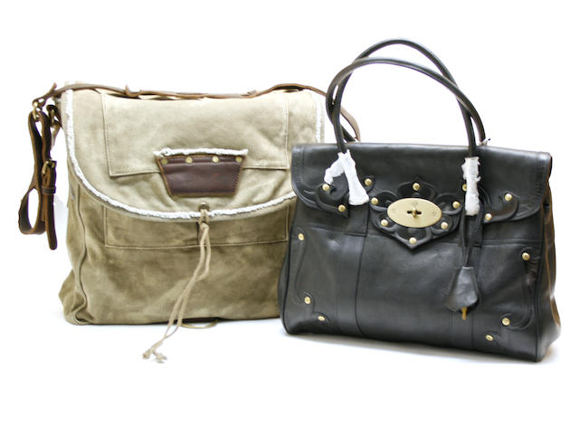 A Mulberry black Darwin leather Tooled Bayswater satchel and a Juicy Couture canvas Hellbell 303 canvas messenger bag