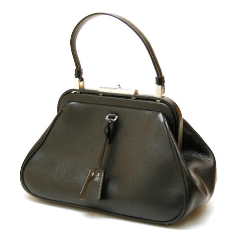 A Prada black leather handbag