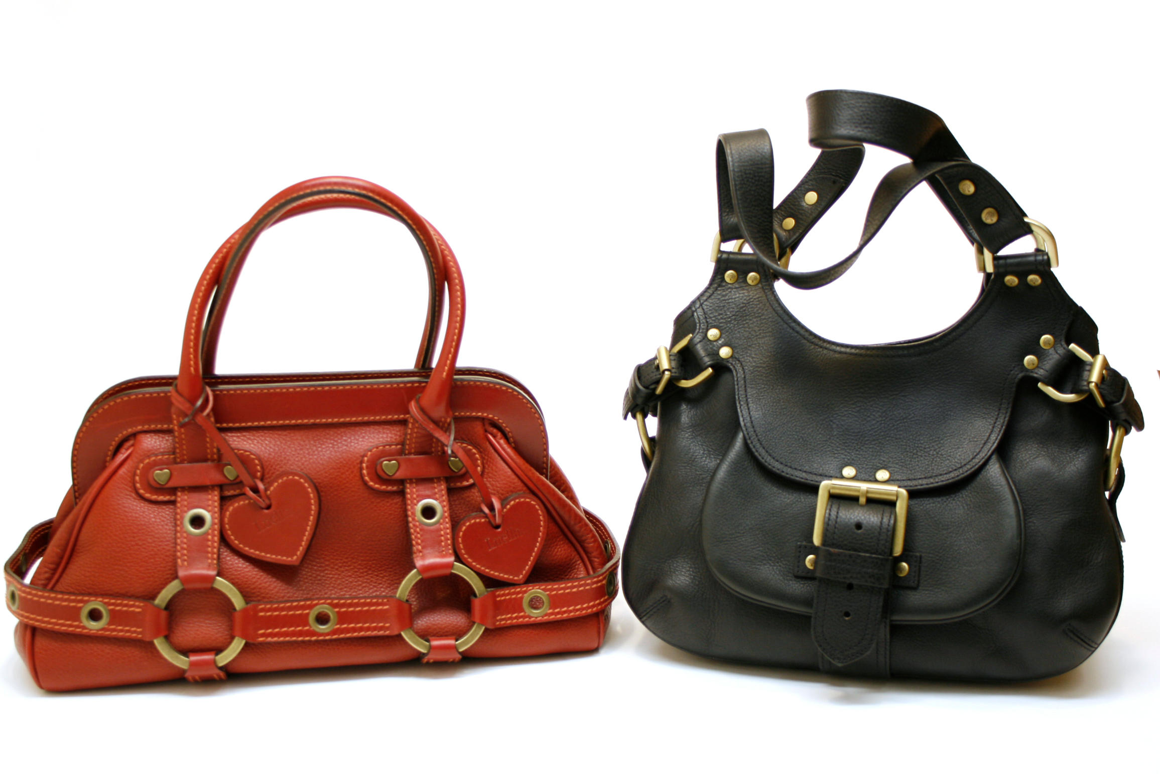 e2a8c1a2e7 A Mulberry black Darwin leather Phoebe hobo and a Luella red brick leather.