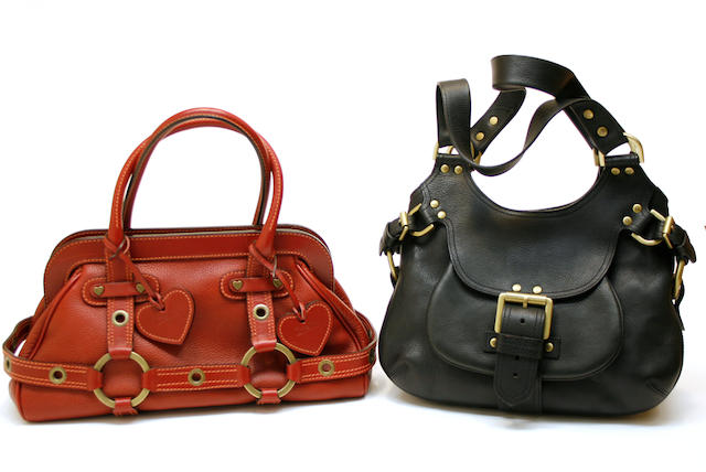 A Mulberry black Darwin leather Phoebe hobo and a Luella red brick leather Gisele doctor satchel