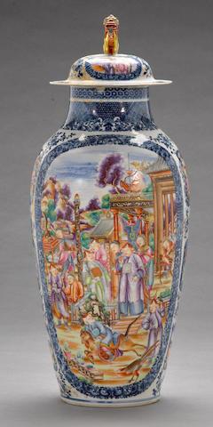 A 'Mandarin-palette' enameled export porcelain covered vase  18th century