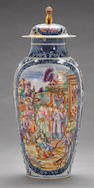 A 'Mandarin-palette' enameled export porcelain covered vase  18th century