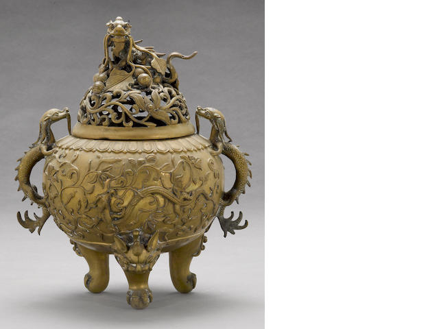 A large cast bronze tripod censer 19th century