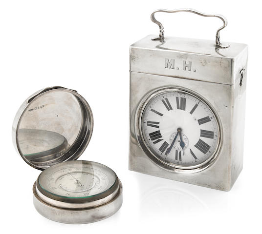 Two  sterling silver  traveling desk articles Late 19th / first quarter 20th century