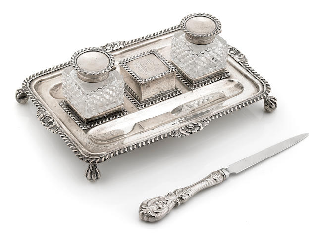 A Victorian sterling silver and cut glass inkstand by John Grinsell & Sons, London, 1898