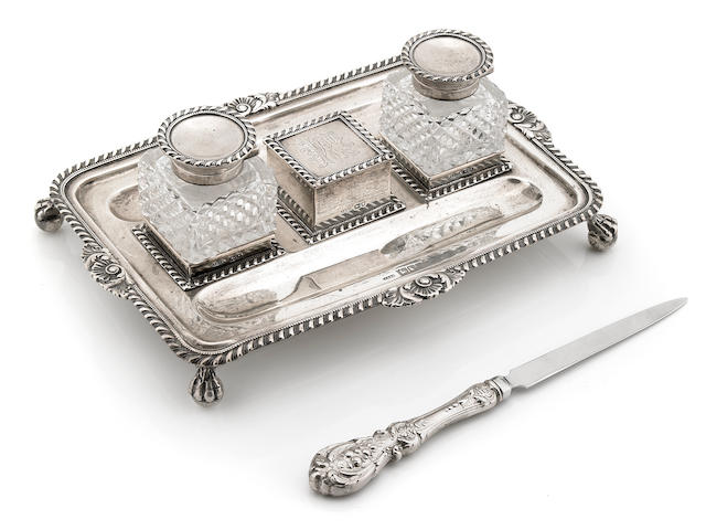 A Victorian  sterling silver and cut glass inkstand John Grinsell & Sons, London, 1898