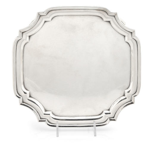 An Elizabeth II  sterling silver  shaped square footed salver  Asprey, London, 1979
