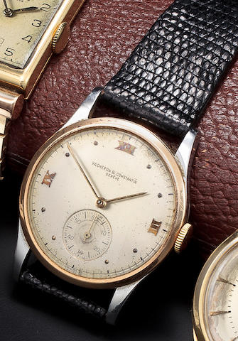 Vacheron & Constantin. A fine stainless steel and rose gold wristwatchCase no. 278358, Movement no. 453432, 1940's