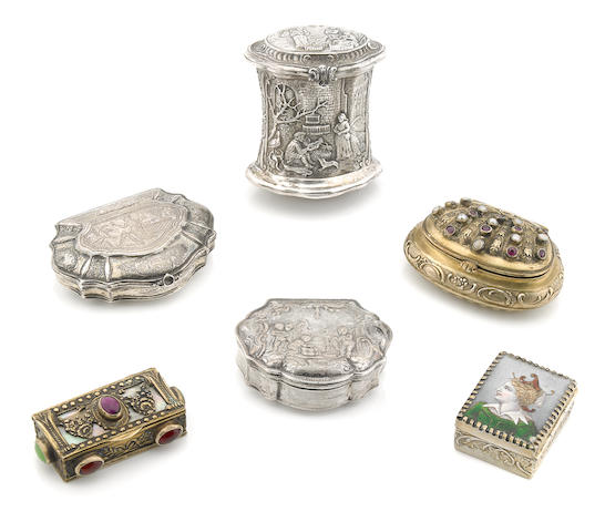 A collection of Continental silver  snuff boxes