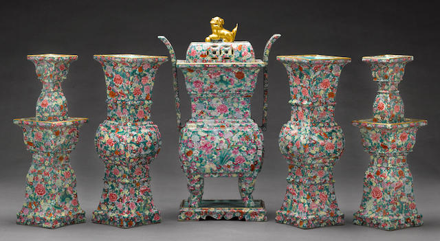 A mille fleurs enameled porcelain five-piece garniture set Qianlong mark, Republic period
