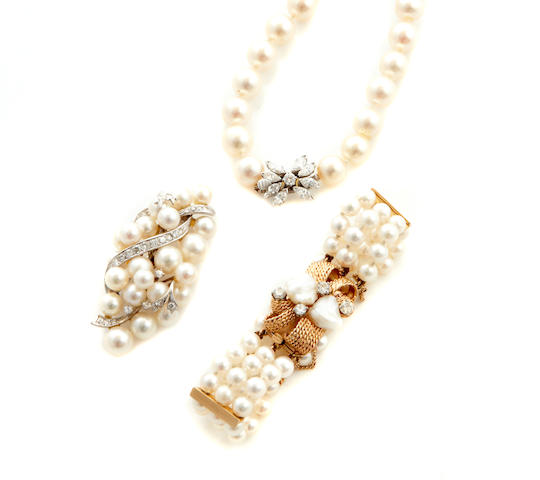 A collection of cultured pearl, diamond and gold jewelry