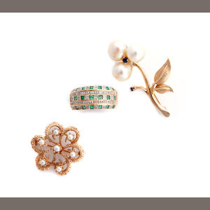A group of cultured pearl, gem-set and gold jewelry