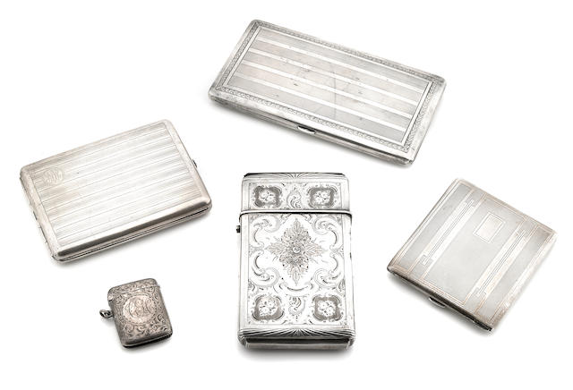 A group of  silver  smoking accessories