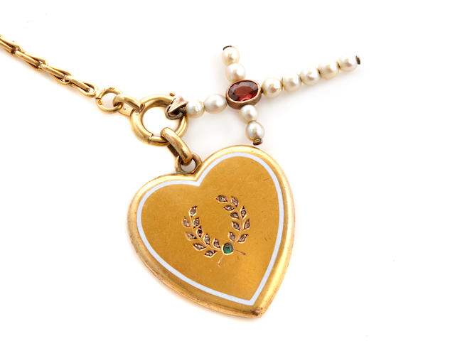 A cultured pearl, gem-set and gold heart locket-pendant, cruciform pendant and chain