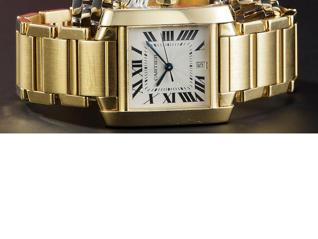 Cartier. A fine 18K gold automatic Tank wristwatch with center seconds, date and braceletTank Franç