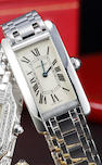 Cartier. A fine 18K white gold lady's Tank wristwatch and braceletTank Américaine, no. 1713 SM10857