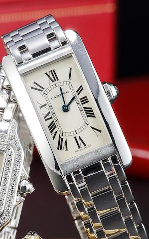 Cartier. A fine 18K white gold lady's Tank wristwatch and braceletTank Américaine, no. 1713 SM10857, sold 2001